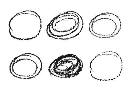 Houtskool, cirkel design objecten. grunge ruw. Het is gemakkelijk om van kleur te veranderen. Elementen geïsoleerd op een lichte achtergrond. Vector Illustratie