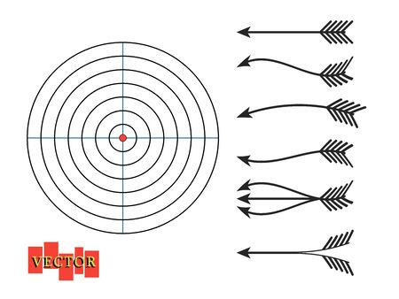Different forms of bow arrows with a target. Vector design elements on isolated white background.
