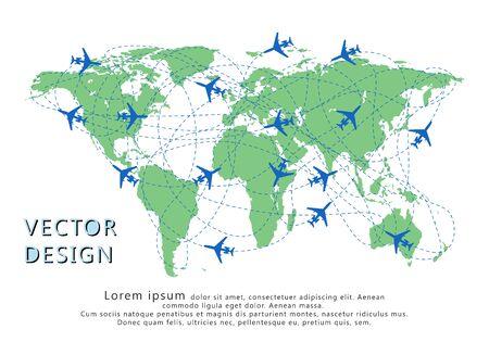 Flugzeugsilhouetten auf der Karte mit gepunkteter Route. Konzept der Reise, Frachttransport. Vektor-Illustration. Vektorgrafik