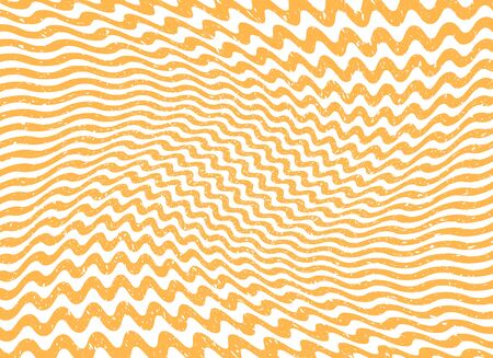 Abstract orange wave striped lines. Relief sinuous wave grunge old worn effect. Vector illustration template, background.