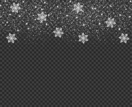 Caída de copos de nieve, nieve, sobre fondo aislado. Ilustración de vector de Navidad.