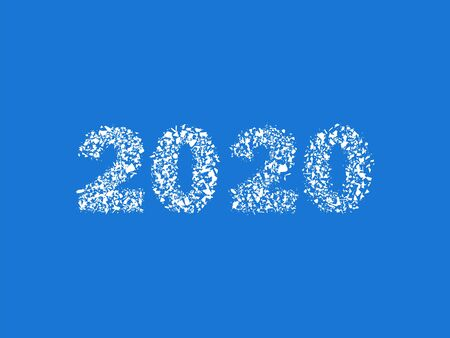 New year figures two thousand twenty. Flat crack ice. Vector design elements isolated background.