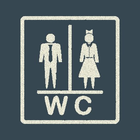 WC toilet icon. Decorative abstract, creative elements in the frame of a man and a woman. Point effect. Vector objects on an isolated background. Eps.