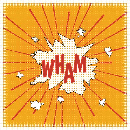 WHAM! Poster in the style of a cartoon cartoon pop art with elements of halftones and speed lines, speech bubbles and red letters on a yellow background. Vector.