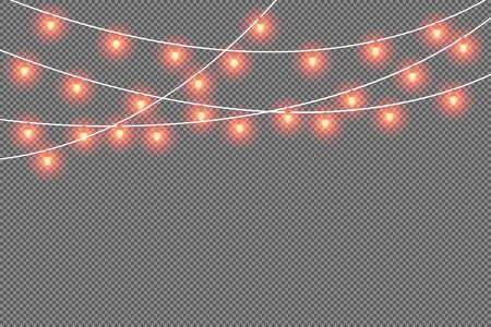 Christmas hanging red luminous garland, ribbon, pattern. Decorative holiday decorations. Vector xmas design elements isolated background.