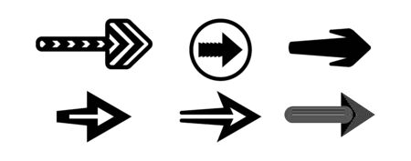 A selection of black arrows vector. Business design elements, infographics, icons. Monochrome pointers. Isolated light background.