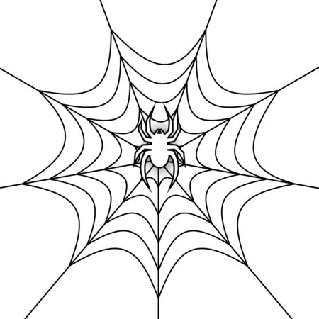 Cobweb vector decorative element.Crawling spider. Banner. Spiderweb object on isolated background.