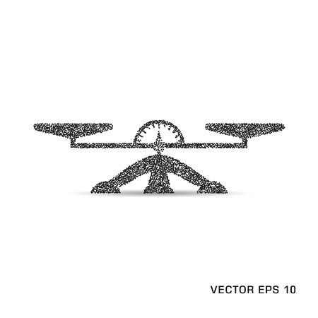 Vector monochrome scales with indicator and arrow. Object icon on an isolated background.