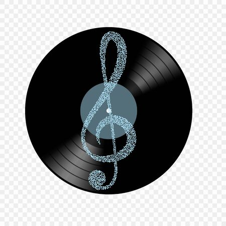 Vinyl realistic object with clef music key. Vector element on an isolated light background. Eps.