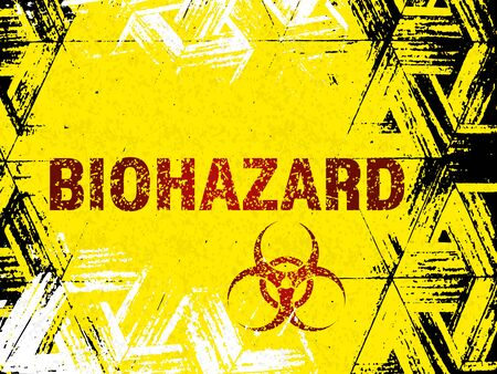 Abstract yellow sign, biohazard, effect of wear, old age, grunge. Vector illustration.