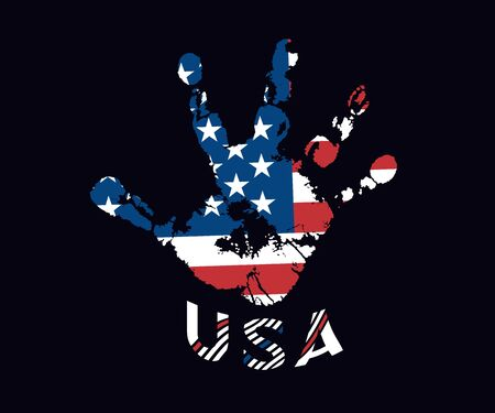Abstract American flag USA in the form of a handprint. Palm print. Vector design element isolated background.