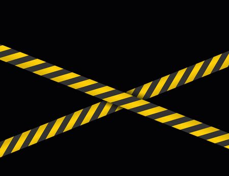 Danger Sign Ribbon Crosshair. Yellow tapes, bands, strips. Fence, Cardon. Vector illustration, template.