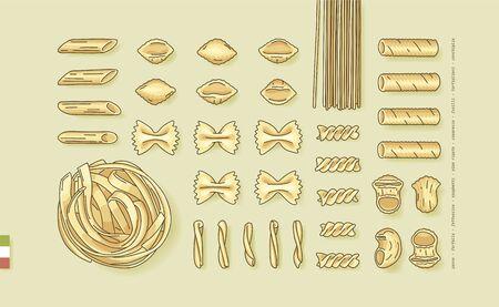 Flat lay vector illustration of different pasta shapes and types: farfalle, casarecce, fusilli, fettuccine, pipe rigate, tortiglioni, conchiglie, spaghetti, penne. Top view of Italian cuisine staples