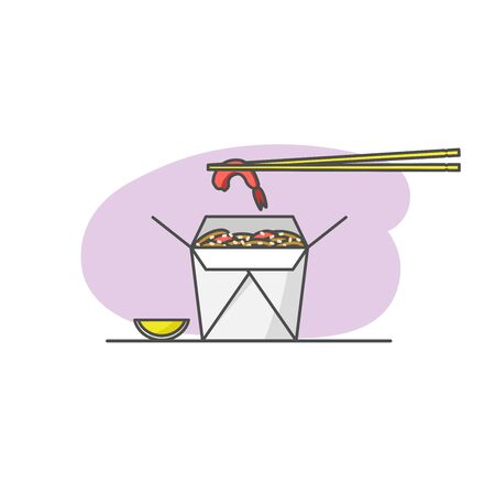 Shrimp noodles in a takeout box. Vector illustration isolated on white background. Asian, Thai, Chinese, Vietnamese food.