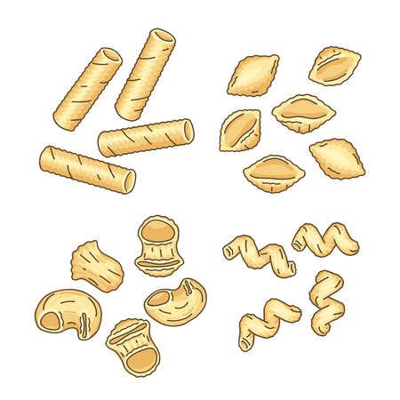 Set of different pasta shapes and types: tortiglioni, conchiglie, pipe rigate, and cavatappi. Illustration of Italian cuisine staples. Top view of uncooked pasta. Vector isolated on white background