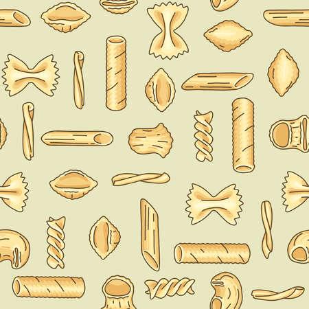Seamless pattern with different pasta shapes and types: farfalle, casarecce, fusilli, pipe rigate, tortiglioni, conchiglie, penne. Flat vector illustration of Italian cuisine staples.