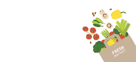 Healthy food banner. Vegetables in paper bag, including bell pepper, tomatoes, broccoli, and leek. Vegetarian grocery haul. Vector banner with copy-space and white background. Illusztráció