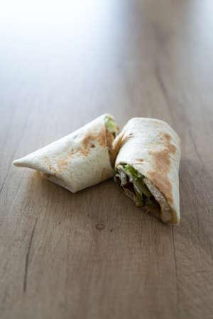 tortilla wrap: Tortilla wrap on wooden table