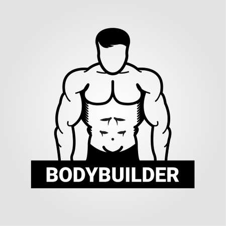 design drawing: Bodybuilder muscle man Illustration