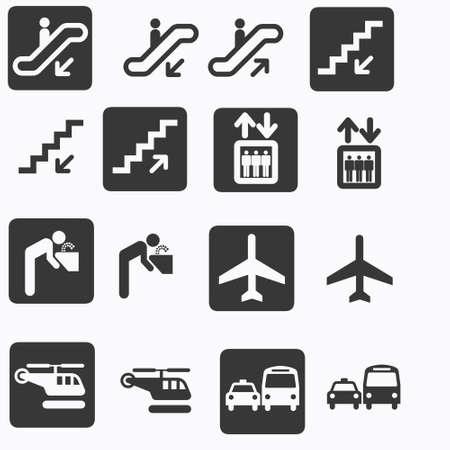 boat lift: transport, travel and escalator icons