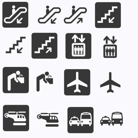 jumbo: transport, travel and escalator icons