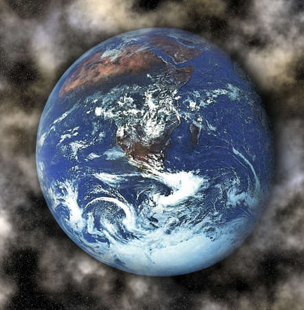 earth with clouds and stars surrounding photo