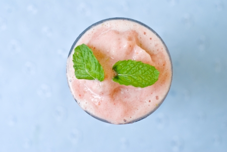 top view of strawberry smoothies photo