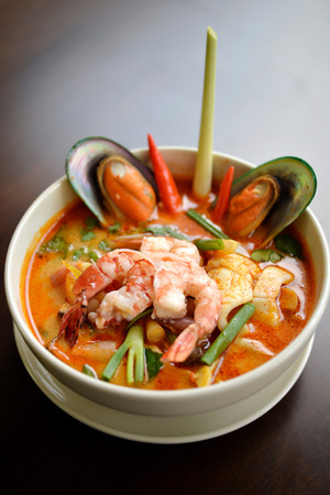 popular soup: Popular Thai tomyam soup with seafood and Thai herbs