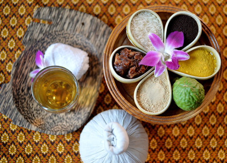 thai spa: close up set of Thai spa with tea and mix thai herb