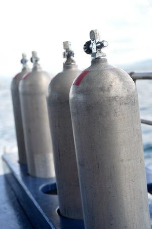 compressed air: Compressed air tanks preparing for diving trip
