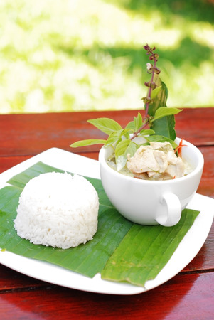 thai food: Chicken green curry with rice, Thai food