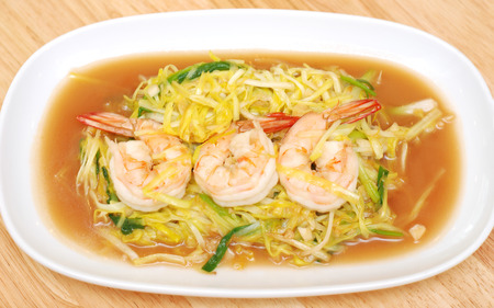 chive: Chinese Stir fry shrimp with ginger and chive