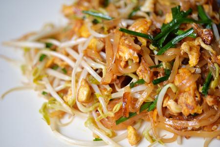 Selective focus of Thai stir fry noodle, popular Pad Thai