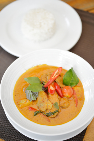 Selective focus of roast duck curry, Thai food