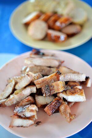 belly pepper: Selective focus of grill pork sliced, popular Thai food