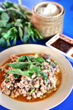 isaan: Selective focus of spicy minced pork salad, Thai food Stock Photo