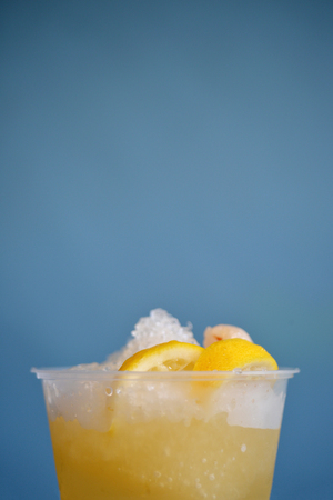 lychee juice: Cold fresh lemon juice with lemon and lychee, selective focus