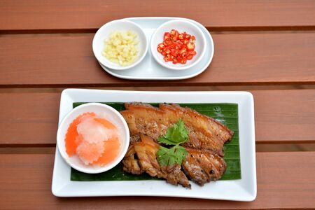 belly pepper: Selective focus of slice grill pork with pepper