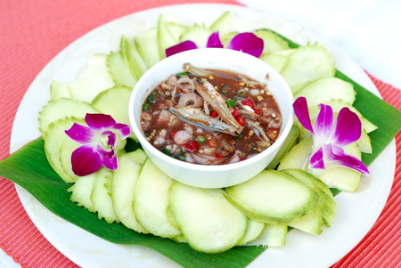 dry fish: Selective focus of chili paste with dry fish, Thai food Stock Photo