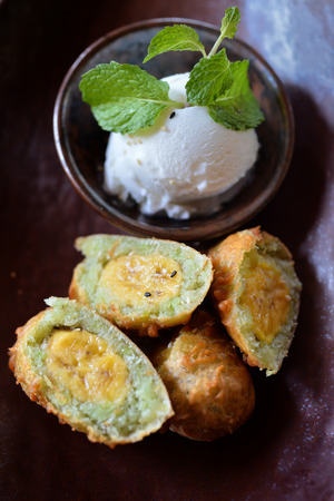 deep fry: Selective focus of deep fry banana with ice cream