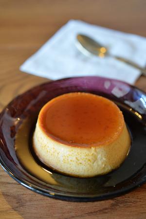 creme: Closeup of creme caramel custard, selective focus Stock Photo