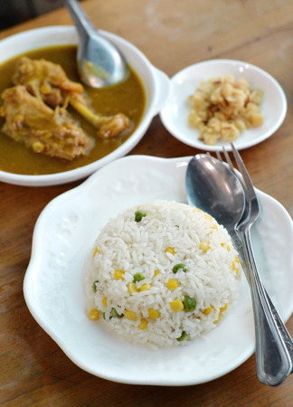 multi grain: Selective focus of steam rice with multi grain and curry