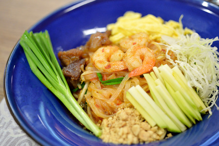 Selective Focus Shrimps Pad Thai, popular Thai food Stock Photo