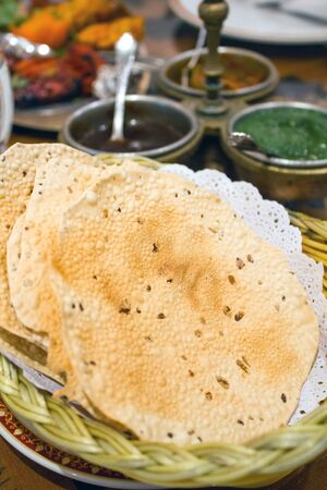 Indian chapati bread in basket, selective focus