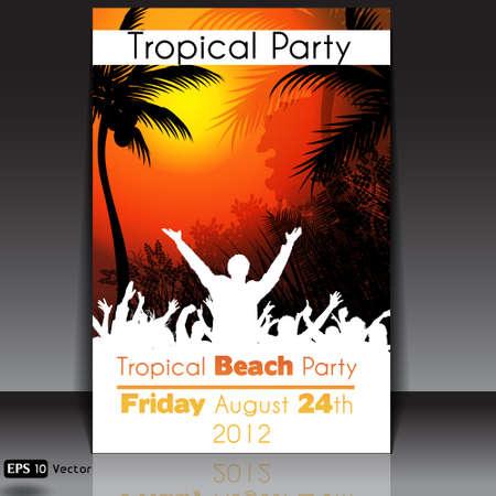 flyer background: Tropical Disco Dance Achtergrond met mensen en zonsondergang