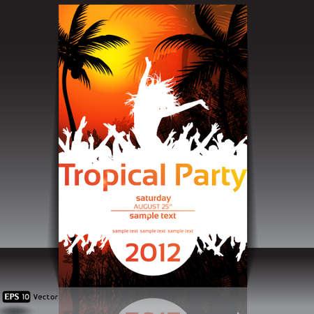 flyer musique: Tropical Contexte Disco Dance avec les gens et coucher du soleil Illustration