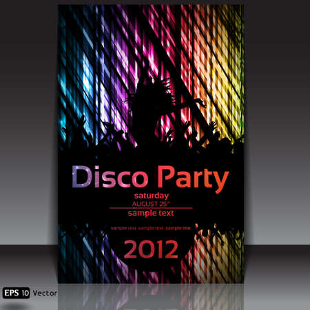 Dancing Disco Party Vector Background Illustration