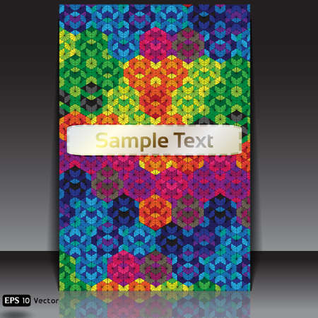 kaleidoscope: vivid hexagon kaleidoscope optical illusion flyer  Illustration