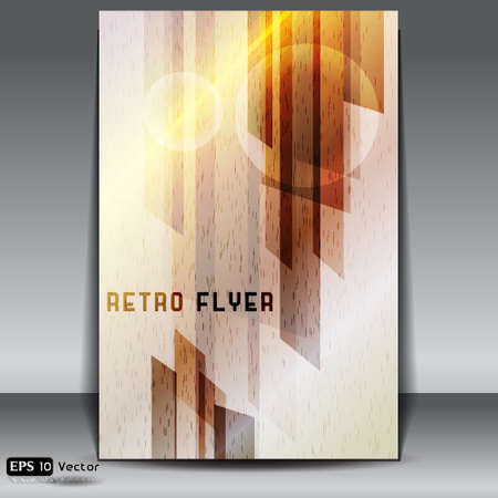 metalic: Retro Flyer mit metallischen Hintergrund