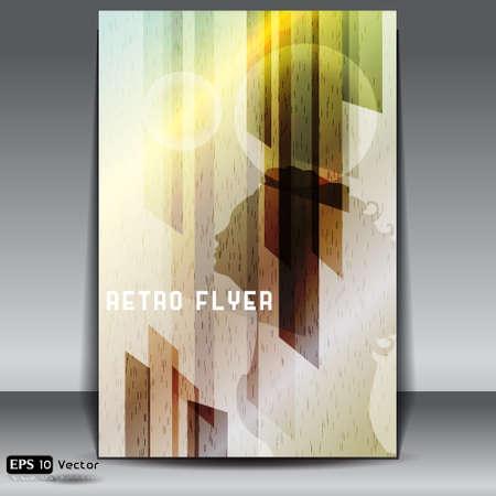 metalic: Retro Flyer mit metallischen Hintergrund und junge Frau Silhouette Illustration